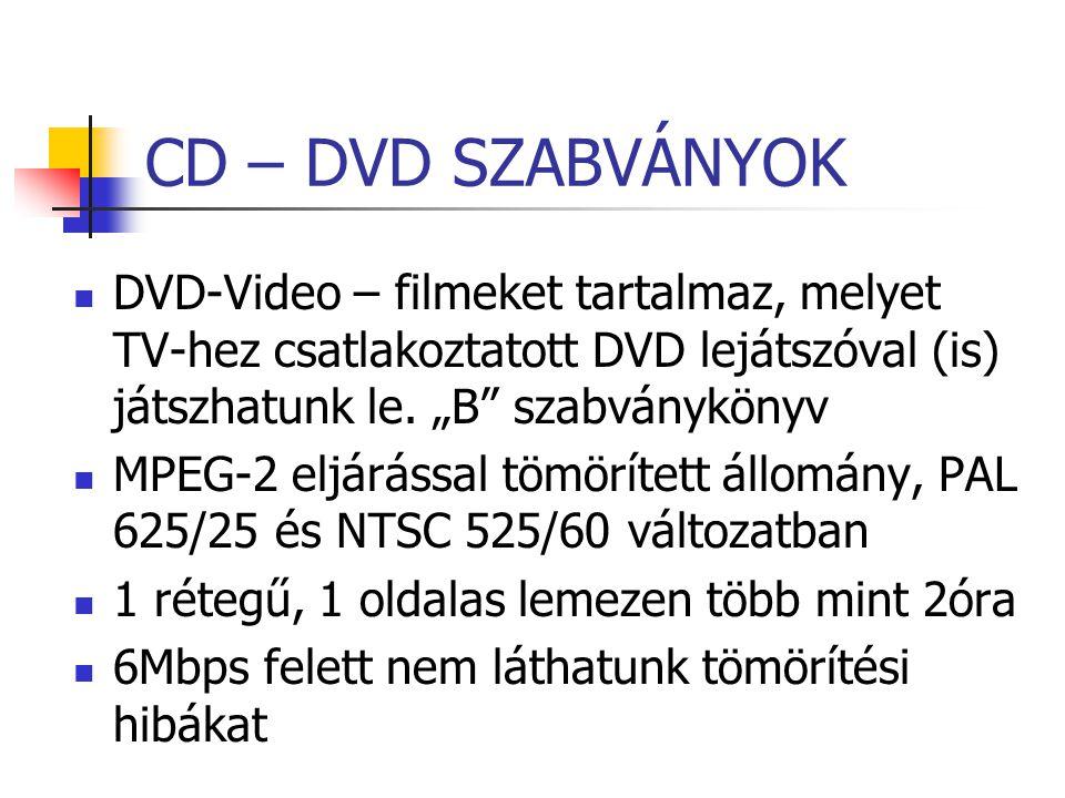"""CD – DVD SZABVÁNYOK DVD-Video – filmeket tartalmaz, melyet TV-hez csatlakoztatott DVD lejátszóval (is) játszhatunk le. """"B"""" szabványkönyv MPEG-2 eljárá"""