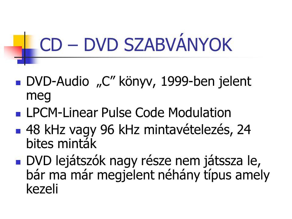 """CD – DVD SZABVÁNYOK DVD-Audio """"C"""" könyv, 1999-ben jelent meg LPCM-Linear Pulse Code Modulation 48 kHz vagy 96 kHz mintavételezés, 24 bites minták DVD"""