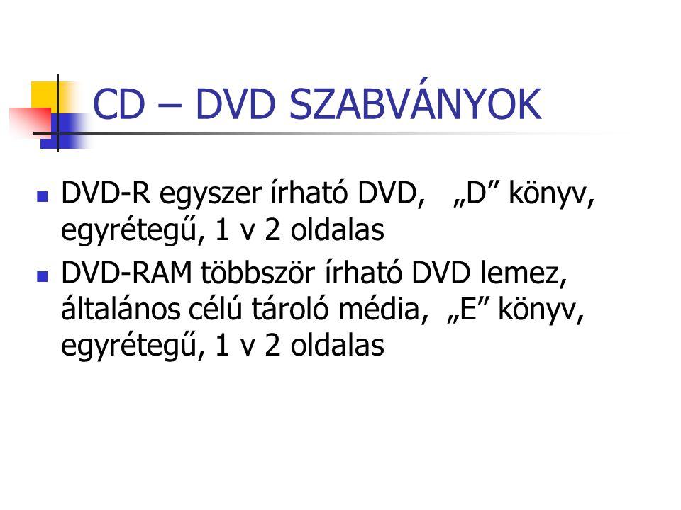 """CD – DVD SZABVÁNYOK DVD-R egyszer írható DVD, """"D"""" könyv, egyrétegű, 1 v 2 oldalas DVD-RAM többször írható DVD lemez, általános célú tároló média, """"E"""""""