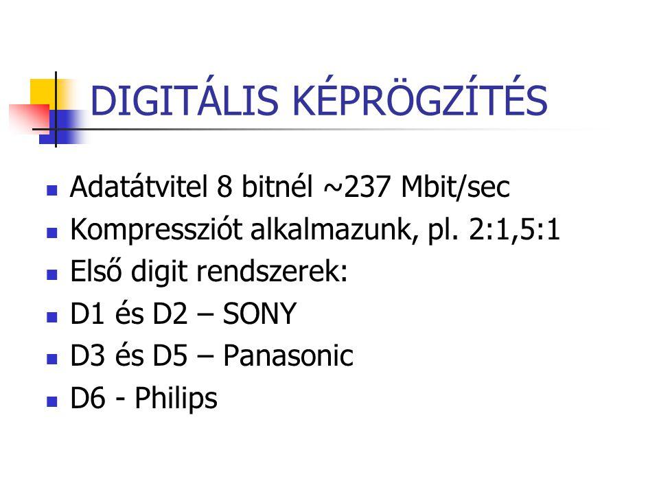 DIGITÁLIS KÉPRÖGZÍTÉS Adatátvitel 8 bitnél ~237 Mbit/sec Kompressziót alkalmazunk, pl. 2:1,5:1 Első digit rendszerek: D1 és D2 – SONY D3 és D5 – Panas