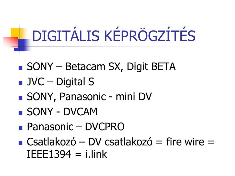 DIGITÁLIS KÉPRÖGZÍTÉS SONY – Betacam SX, Digit BETA JVC – Digital S SONY, Panasonic - mini DV SONY - DVCAM Panasonic – DVCPRO Csatlakozó – DV csatlako