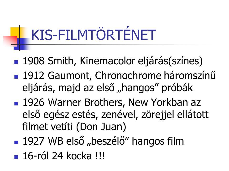 """KIS-FILMTÖRTÉNET 1908 Smith, Kinemacolor eljárás(színes) 1912 Gaumont, Chronochrome háromszínű eljárás, majd az első """"hangos"""" próbák 1926 Warner Broth"""