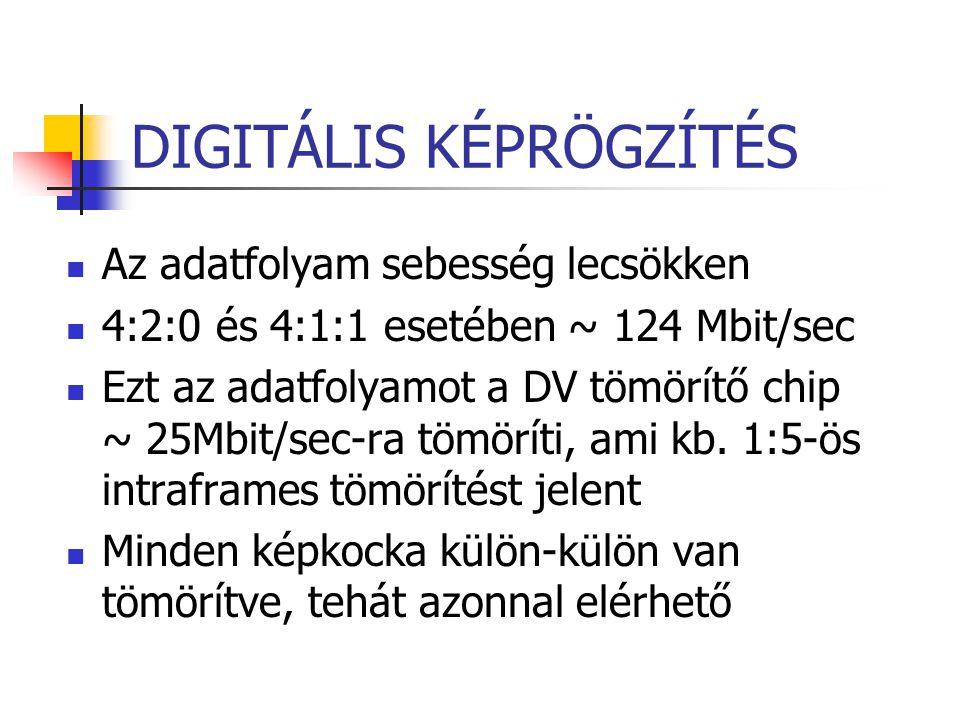DIGITÁLIS KÉPRÖGZÍTÉS Az adatfolyam sebesség lecsökken 4:2:0 és 4:1:1 esetében ~ 124 Mbit/sec Ezt az adatfolyamot a DV tömörítő chip ~ 25Mbit/sec-ra t