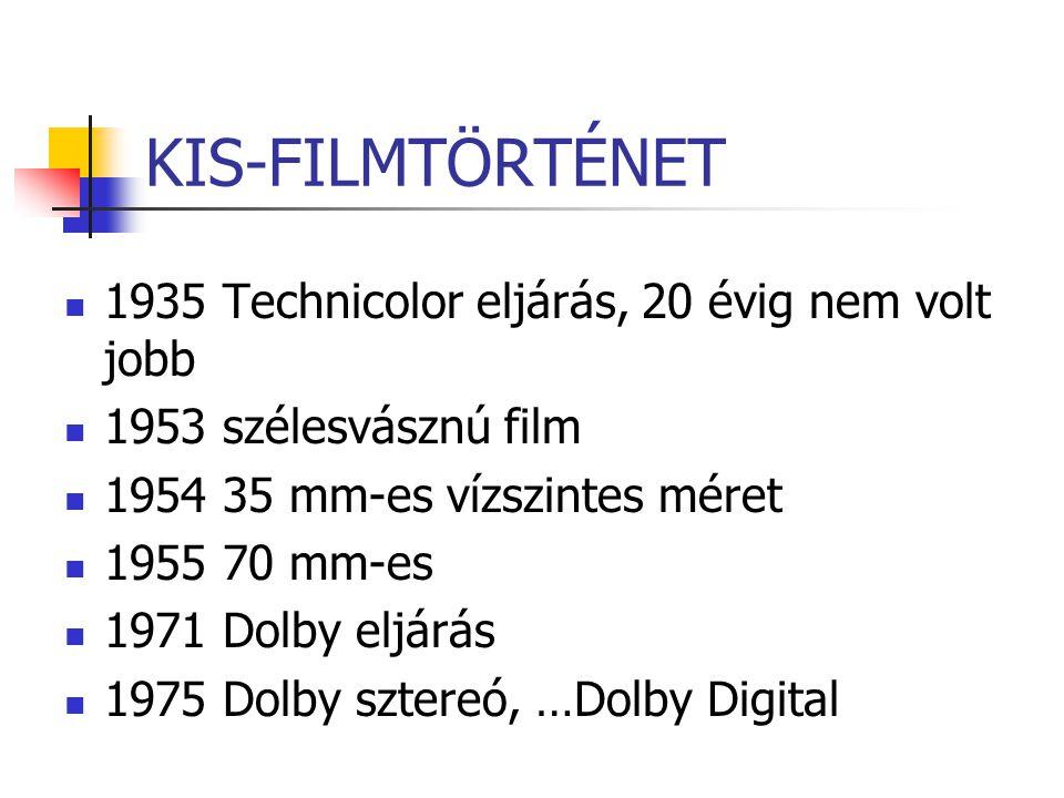 KIS-FILMTÖRTÉNET 1935 Technicolor eljárás, 20 évig nem volt jobb 1953 szélesvásznú film 1954 35 mm-es vízszintes méret 1955 70 mm-es 1971 Dolby eljárá