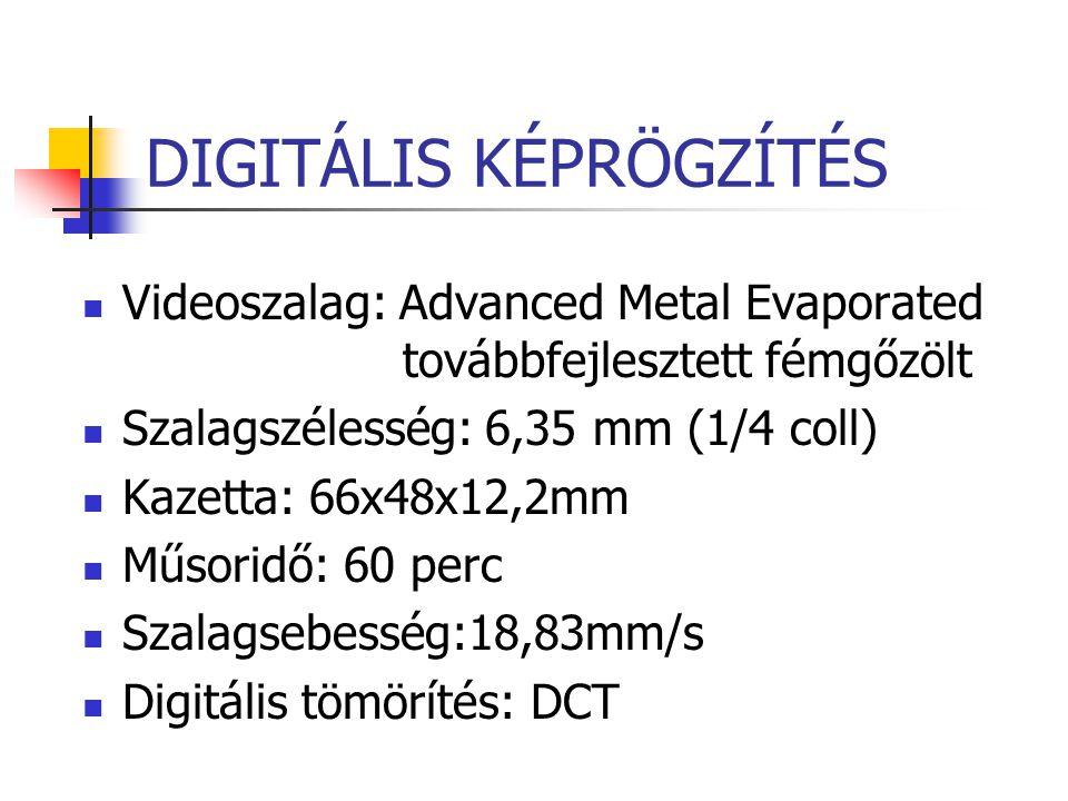 DIGITÁLIS KÉPRÖGZÍTÉS Videoszalag: Advanced Metal Evaporated továbbfejlesztett fémgőzölt Szalagszélesség: 6,35 mm (1/4 coll) Kazetta: 66x48x12,2mm Műs