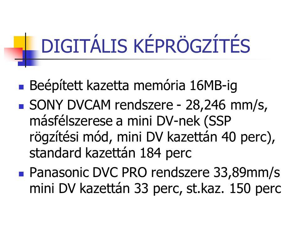 DIGITÁLIS KÉPRÖGZÍTÉS Beépített kazetta memória 16MB-ig SONY DVCAM rendszere - 28,246 mm/s, másfélszerese a mini DV-nek (SSP rögzítési mód, mini DV ka