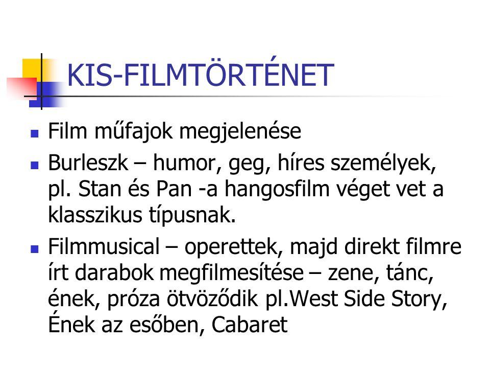KIS-FILMTÖRTÉNET Film műfajok megjelenése Burleszk – humor, geg, híres személyek, pl. Stan és Pan -a hangosfilm véget vet a klasszikus típusnak. Filmm