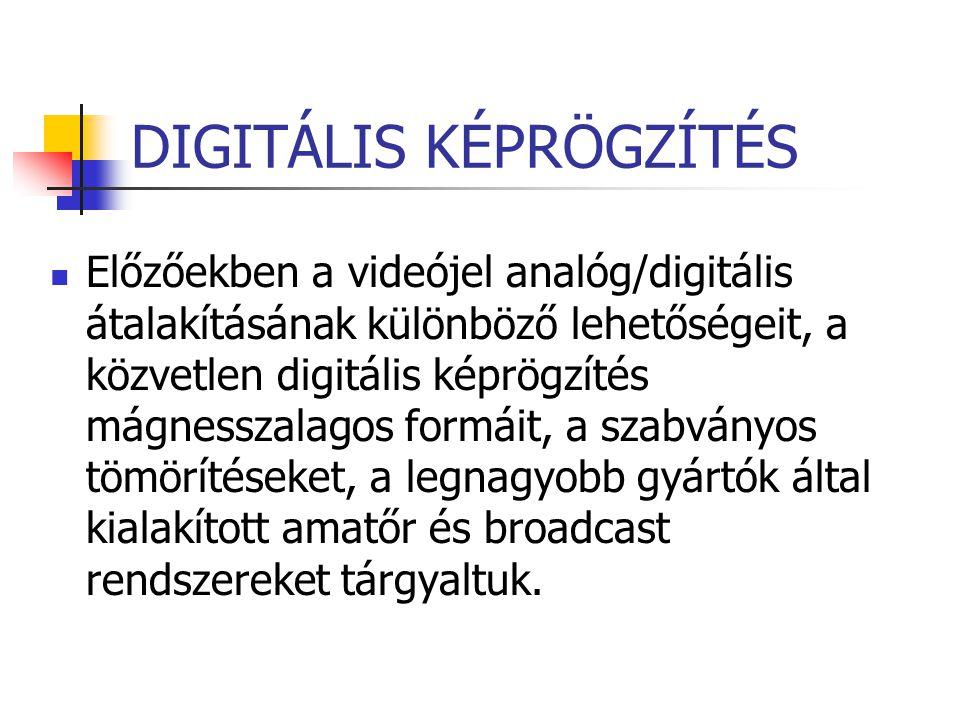 DIGITÁLIS KÉPRÖGZÍTÉS Előzőekben a videójel analóg/digitális átalakításának különböző lehetőségeit, a közvetlen digitális képrögzítés mágnesszalagos f