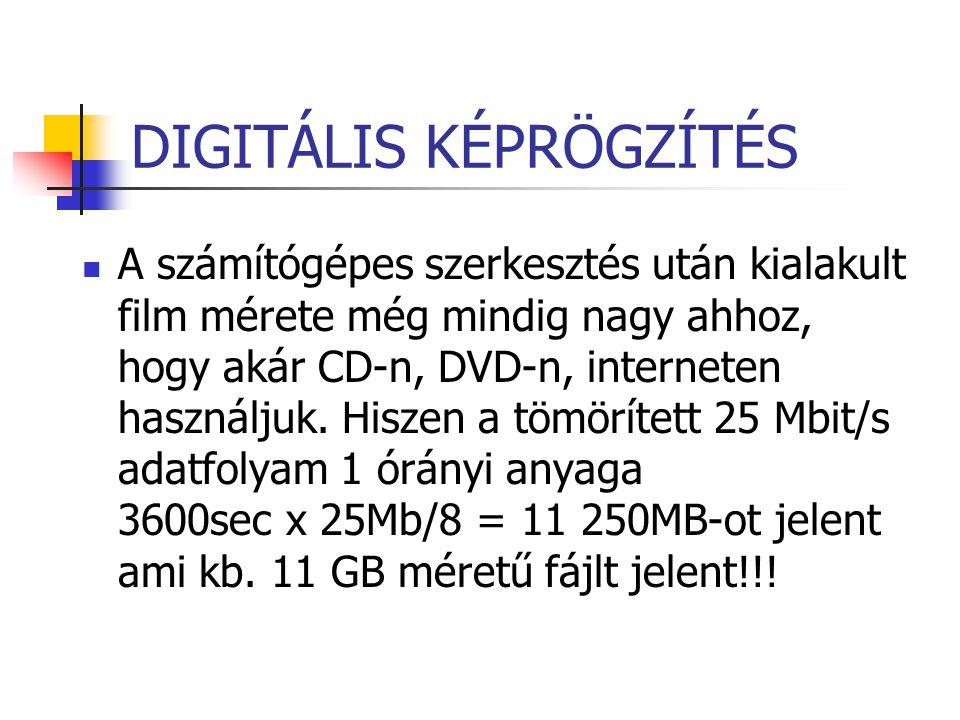 DIGITÁLIS KÉPRÖGZÍTÉS A számítógépes szerkesztés után kialakult film mérete még mindig nagy ahhoz, hogy akár CD-n, DVD-n, interneten használjuk. Hisze