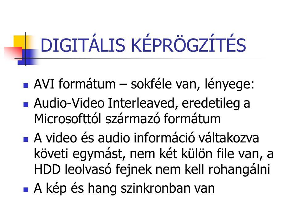 DIGITÁLIS KÉPRÖGZÍTÉS AVI formátum – sokféle van, lényege: Audio-Video Interleaved, eredetileg a Microsofttól származó formátum A video és audio infor