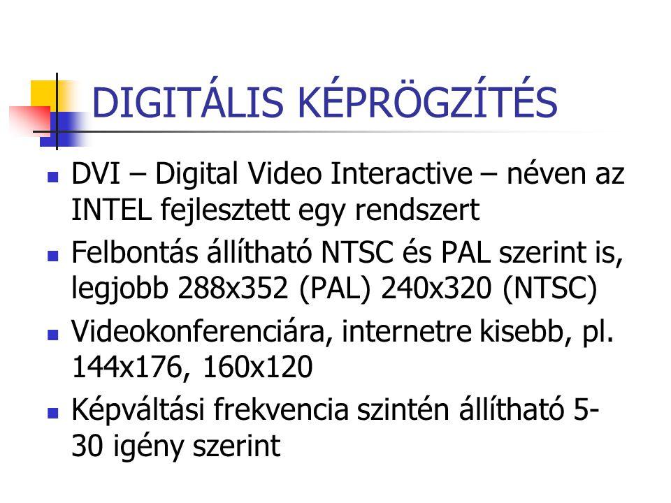 DIGITÁLIS KÉPRÖGZÍTÉS DVI – Digital Video Interactive – néven az INTEL fejlesztett egy rendszert Felbontás állítható NTSC és PAL szerint is, legjobb 2