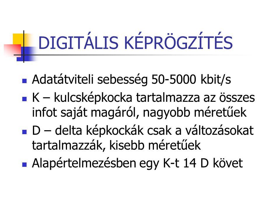 DIGITÁLIS KÉPRÖGZÍTÉS Adatátviteli sebesség 50-5000 kbit/s K – kulcsképkocka tartalmazza az összes infot saját magáról, nagyobb méretűek D – delta kép
