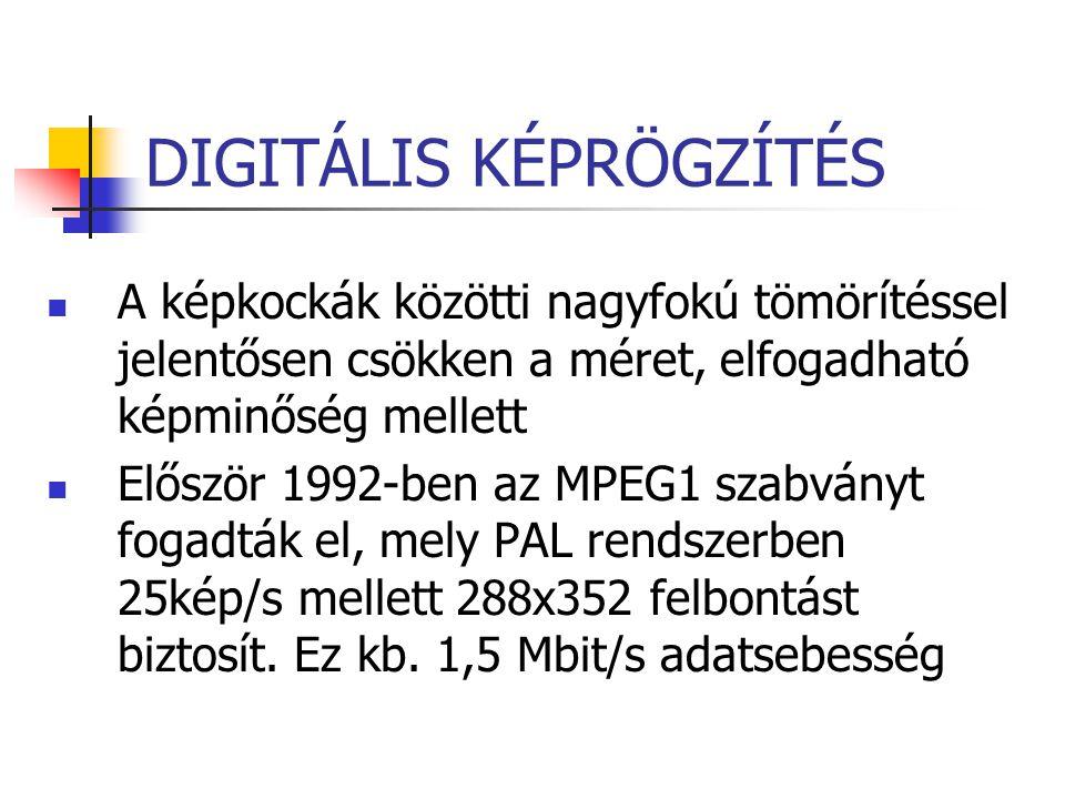 DIGITÁLIS KÉPRÖGZÍTÉS A képkockák közötti nagyfokú tömörítéssel jelentősen csökken a méret, elfogadható képminőség mellett Először 1992-ben az MPEG1 s
