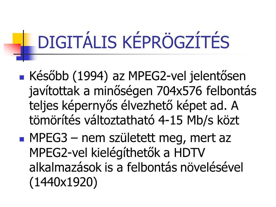 DIGITÁLIS KÉPRÖGZÍTÉS Később (1994) az MPEG2-vel jelentősen javítottak a minőségen 704x576 felbontás teljes képernyős élvezhető képet ad. A tömörítés