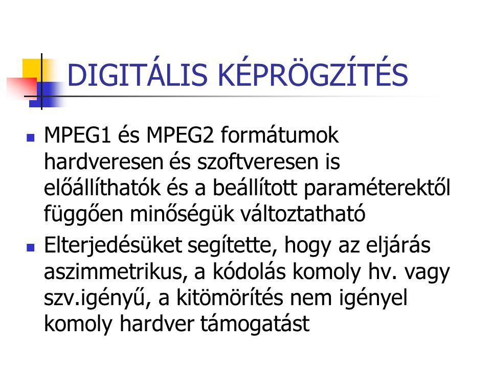 DIGITÁLIS KÉPRÖGZÍTÉS MPEG1 és MPEG2 formátumok hardveresen és szoftveresen is előállíthatók és a beállított paraméterektől függően minőségük változta