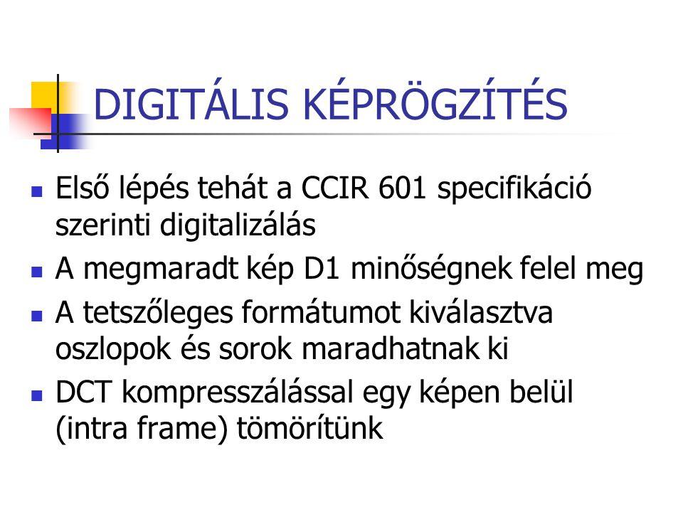 Első lépés tehát a CCIR 601 specifikáció szerinti digitalizálás A megmaradt kép D1 minőségnek felel meg A tetszőleges formátumot kiválasztva oszlopok