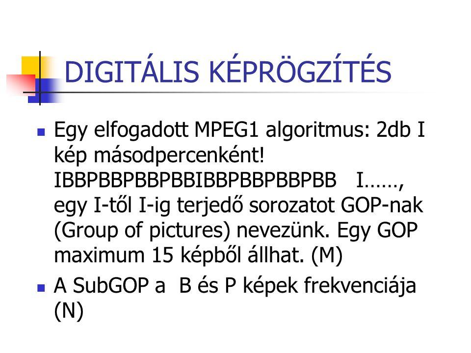 DIGITÁLIS KÉPRÖGZÍTÉS Egy elfogadott MPEG1 algoritmus: 2db I kép másodpercenként! IBBPBBPBBPBBIBBPBBPBBPBB I……, egy I-től I-ig terjedő sorozatot GOP-n