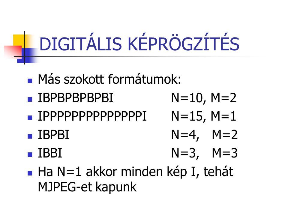 DIGITÁLIS KÉPRÖGZÍTÉS Más szokott formátumok: IBPBPBPBPBI N=10, M=2 IPPPPPPPPPPPPPPI N=15, M=1 IBPBIN=4, M=2 IBBIN=3, M=3 Ha N=1 akkor minden kép I, t