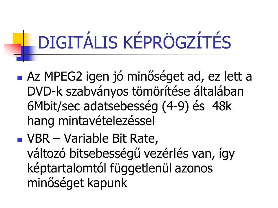DIGITÁLIS KÉPRÖGZÍTÉS Az MPEG2 igen jó minőséget ad, ez lett a DVD-k szabványos tömörítése általában 6Mbit/sec adatsebesség (4-9) és 48k hang mintavét