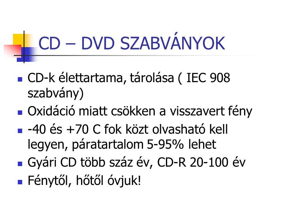CD – DVD SZABVÁNYOK CD-k élettartama, tárolása ( IEC 908 szabvány) Oxidáció miatt csökken a visszavert fény -40 és +70 C fok közt olvasható kell legye