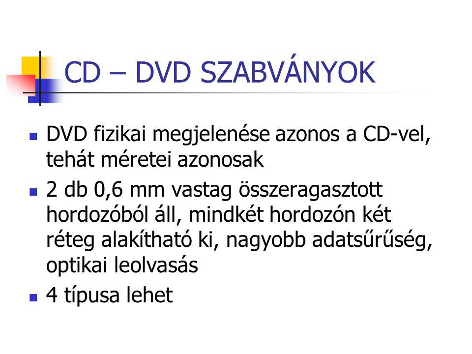 CD – DVD SZABVÁNYOK DVD fizikai megjelenése azonos a CD-vel, tehát méretei azonosak 2 db 0,6 mm vastag összeragasztott hordozóból áll, mindkét hordozó