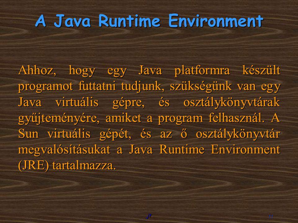 jt 11 A Java Runtime Environment Ahhoz, hogy egy Java platformra készült programot futtatni tudjunk, szükségünk van egy Java virtuális gépre, és osztá
