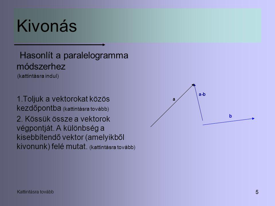5 Kivonás Hasonlít a paralelogramma módszerhez (kattintásra indul) 1.Toljuk a vektorokat közös kezdőpontba (kattintásra tovább) 2. Kössük össze a vekt