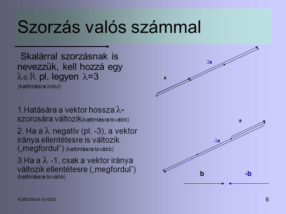 6 Szorzás valós számmal Skalárral szorzásnak is nevezzük, kell hozzá egy  R pl. legyen =3 (kattintásra indul) 1.Hatására a vektor hossza - szorosára