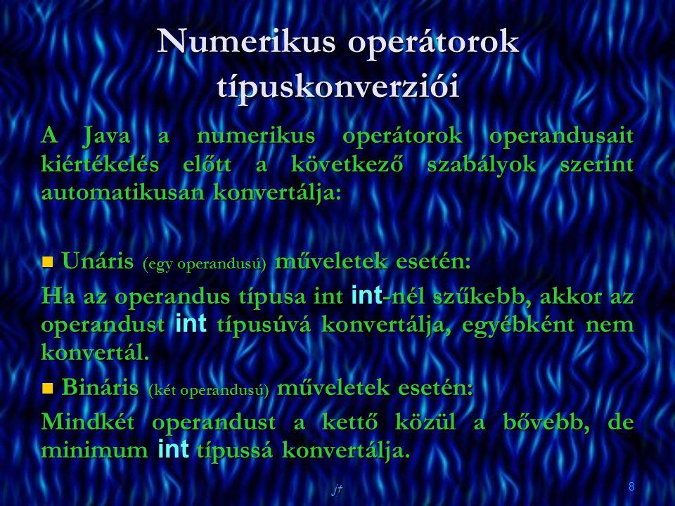 jt 8 Numerikus operátorok típuskonverziói A Java a numerikus operátorok operandusait kiértékelés előtt a következő szabályok szerint automatikusan konvertálja: Unáris (egy operandusú) műveletek esetén: Unáris (egy operandusú) műveletek esetén: Ha az operandus típusa int int -nél szűkebb, akkor az operandust int típusúvá konvertálja, egyébként nem konvertál.