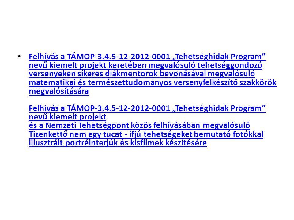 """Felhívás a TÁMOP-3.4.5-12-2012-0001 """"Tehetséghidak Program nevű kiemelt projekt keretében megvalósuló tehetséggondozó versenyeken sikeres diákmentorok bevonásával megvalósuló matematikai és természettudományos versenyfelkészítő szakkörök megvalósítására Felhívás a TÁMOP-3.4.5-12-2012-0001 """"Tehetséghidak Program nevű kiemelt projekt és a Nemzeti Tehetségpont közös felhívásában megvalósuló Tizenkettő nem egy tucat - ifjú tehetségeket bemutató fotókkal illusztrált portréinterjúk és kisfilmek készítésére Felhívás a TÁMOP-3.4.5-12-2012-0001 """"Tehetséghidak Program nevű kiemelt projekt keretében megvalósuló tehetséggondozó versenyeken sikeres diákmentorok bevonásával megvalósuló matematikai és természettudományos versenyfelkészítő szakkörök megvalósítására Felhívás a TÁMOP-3.4.5-12-2012-0001 """"Tehetséghidak Program nevű kiemelt projekt és a Nemzeti Tehetségpont közös felhívásában megvalósuló Tizenkettő nem egy tucat - ifjú tehetségeket bemutató fotókkal illusztrált portréinterjúk és kisfilmek készítésére"""