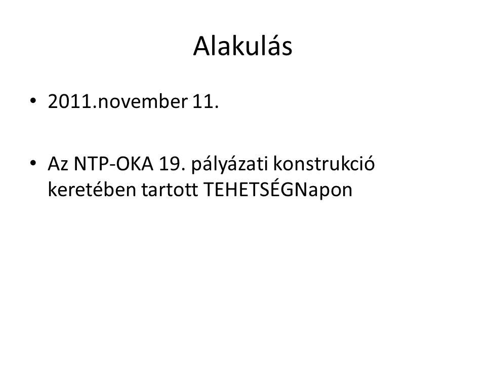Alakulás 2011.november 11. Az NTP-OKA 19. pályázati konstrukció keretében tartott TEHETSÉGNapon