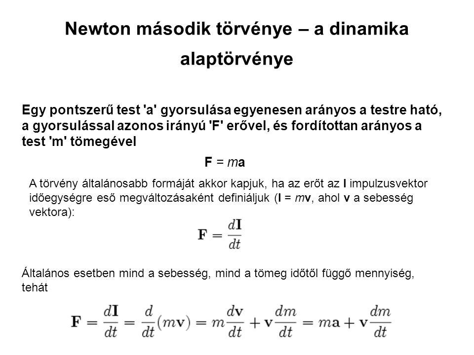 Newton második törvénye – a dinamika alaptörvénye Egy pontszerű test 'a' gyorsulása egyenesen arányos a testre ható, a gyorsulással azonos irányú 'F'