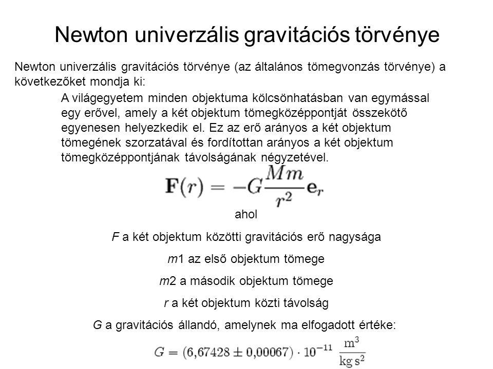 Newton univerzális gravitációs törvénye Newton univerzális gravitációs törvénye (az általános tömegvonzás törvénye) a következőket mondja ki: A világe