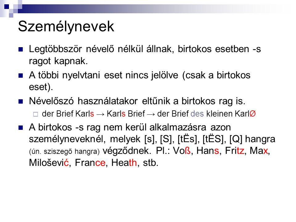 Személynevek Legtöbbször névelő nélkül állnak, birtokos esetben -s ragot kapnak. A többi nyelvtani eset nincs jelölve (csak a birtokos eset). Névelősz