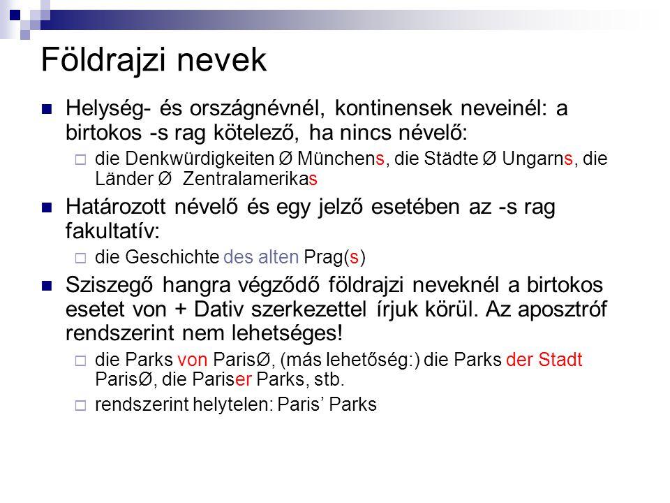 Földrajzi nevek Helység- és országnévnél, kontinensek neveinél: a birtokos -s rag kötelező, ha nincs névelő:  die Denkwürdigkeiten Ø Münchens, die St