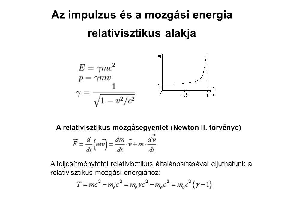 Az impulzus és a mozgási energia relativisztikus alakja A relativisztikus mozgásegyenlet (Newton II.