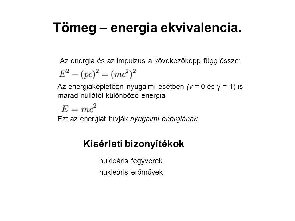 Tömeg – energia ekvivalencia.