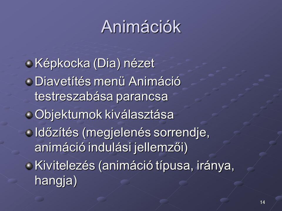 14 Animációk Képkocka (Dia) nézet Diavetítés menü Animáció testreszabása parancsa Objektumok kiválasztása Időzítés (megjelenés sorrendje, animáció ind