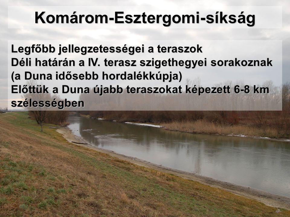 Komárom-Esztergomi-síkság Legfőbb jellegzetességei a teraszok Déli határán a IV. terasz szigethegyei sorakoznak (a Duna idősebb hordalékkúpja) Előttük