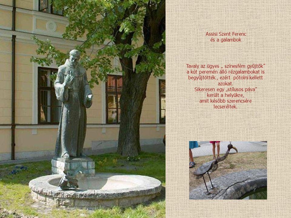 """Assisi Szent Ferenc és a galambok Tavaly az ügyes """" színesfém gyűjtők a kút peremén álló rézgalambokat is begyűjtötték, ezért pótolni kellett azokat."""