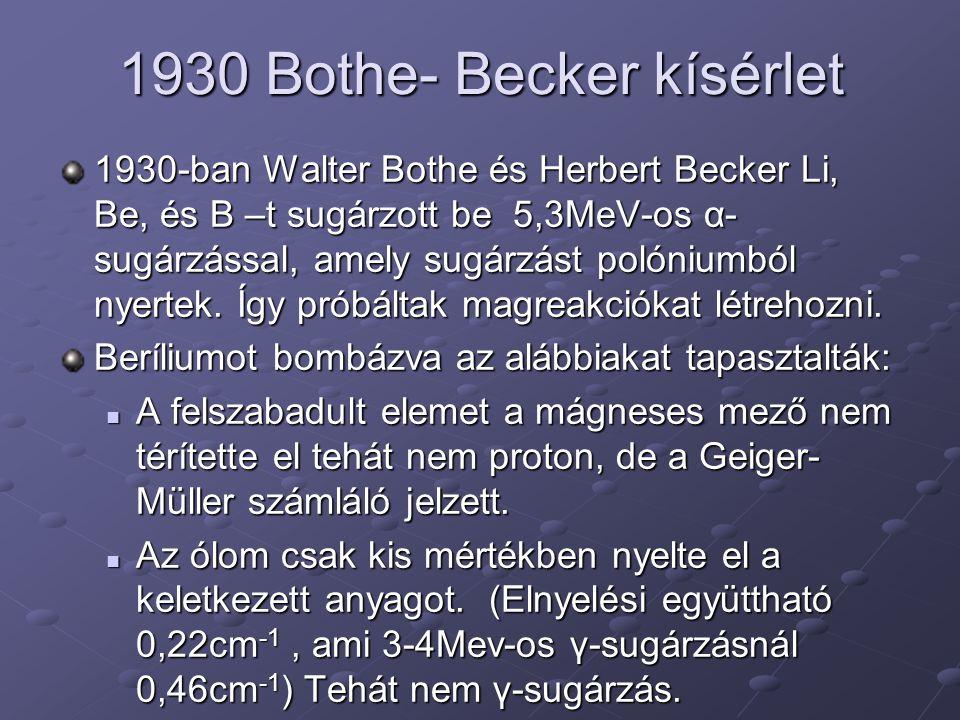 1930 Bothe- Becker kísérlet 1930-ban Walter Bothe és Herbert Becker Li, Be, és B –t sugárzott be 5,3MeV-os α- sugárzással, amely sugárzást polóniumból nyertek.