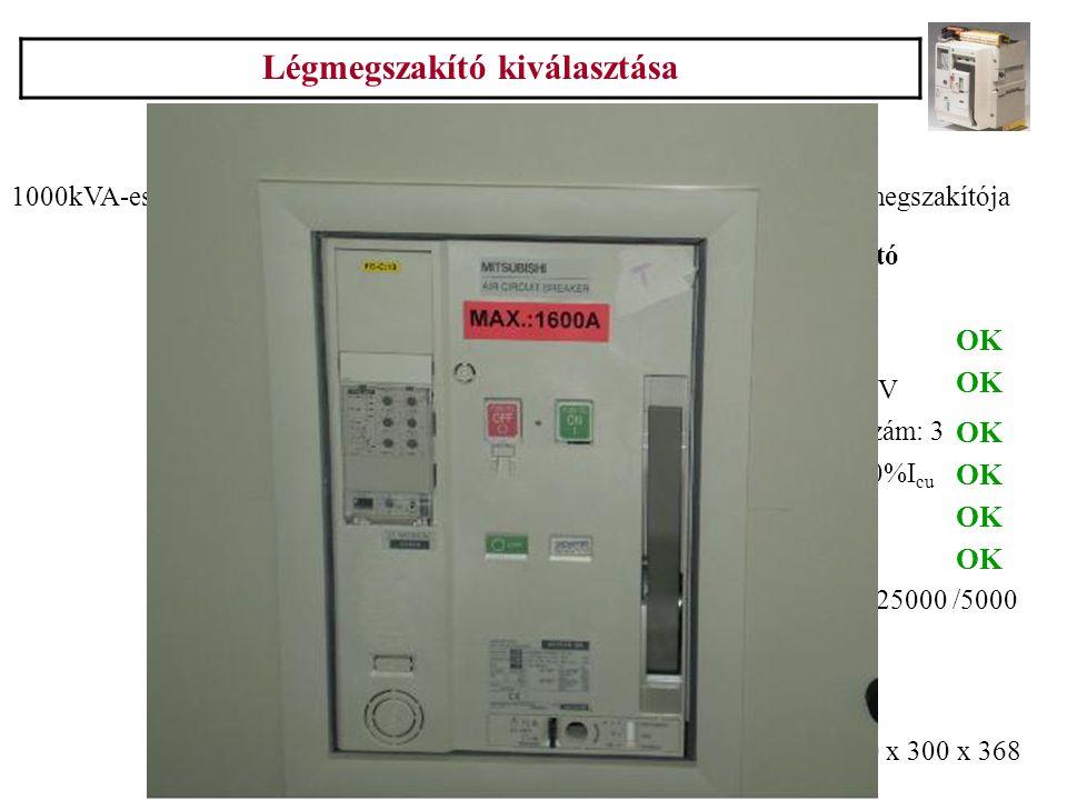 Légmegszakító kiválasztása 20. Példa 1000kVA-es Siemens transzformátorról táplált 0,4kV-os elosztó betáplálási megszakítója I n =1445A I zeff =24,08kA