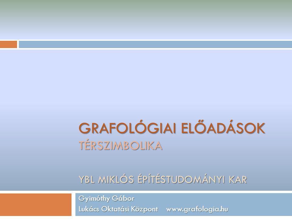 GRAFOLÓGIAI ELŐADÁSOK TÉRSZIMBOLIKA YBL MIKLÓS ÉPÍTÉSTUDOMÁNYI KAR Gyimóthy Gábor Lukács Oktatási Központ www.grafologia.hu