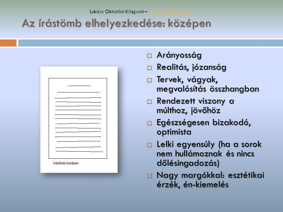 Az írástömb elhelyezkedése: középen  Arányosság  Realitás, józanság  Tervek, vágyak, megvalósítás összhangban  Rendezett viszony a múlthoz, jövőhö