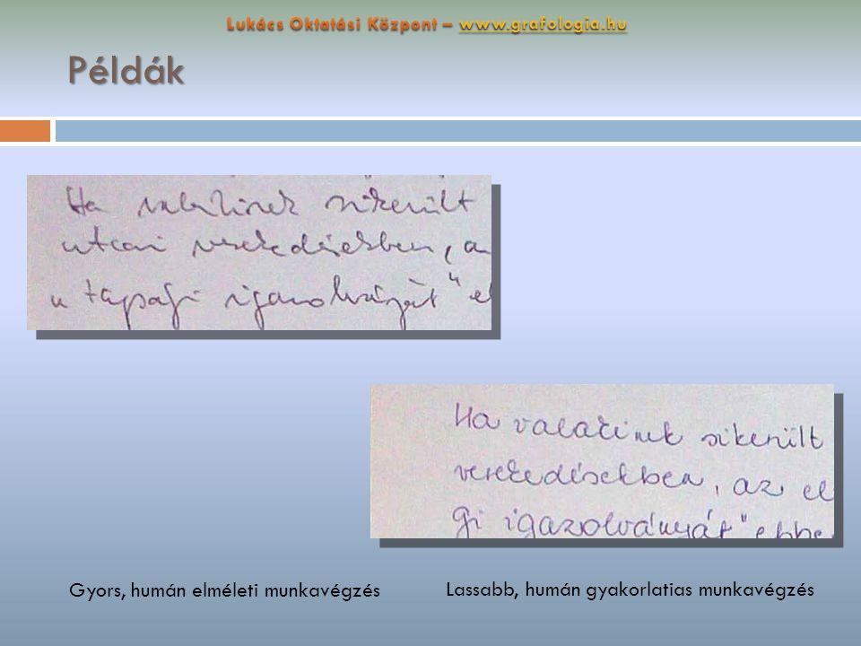 Példák Gyors, humán elméleti munkavégzés Lassabb, humán gyakorlatias munkavégzés
