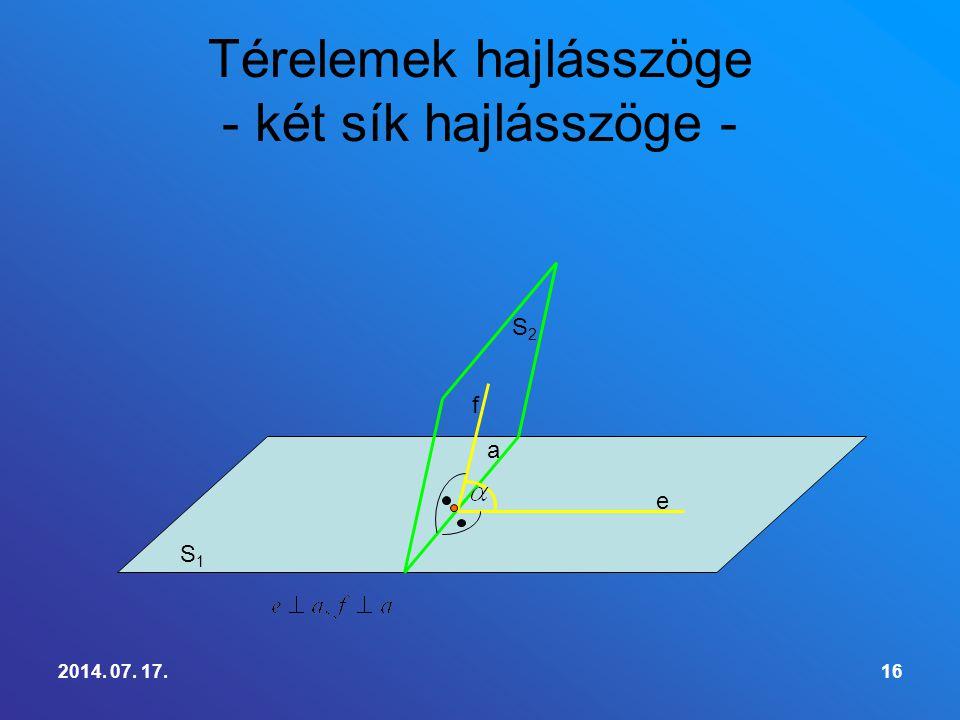 2014. 07. 17.16 Térelemek hajlásszöge - két sík hajlásszöge - S1S1 S2S2 e f a