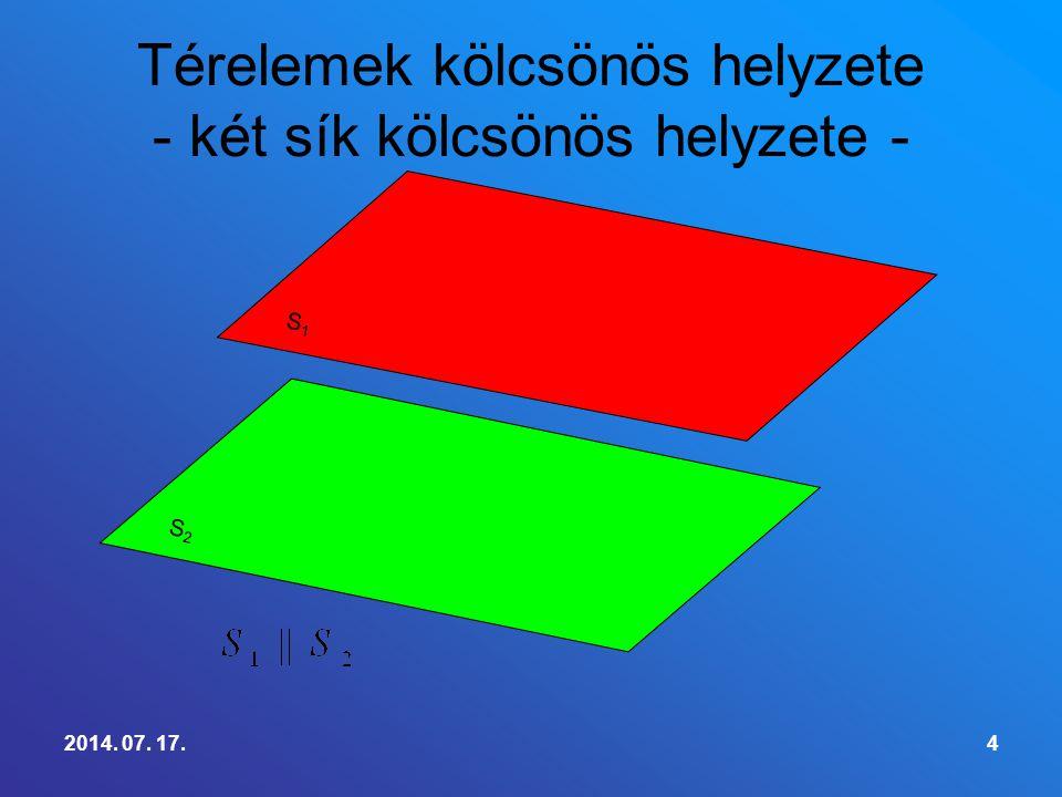 Definició:Ha egy egyenes nem merőleges a síkra, akkor az egyenes és a sík hajlásszögének nevezzük azt a szöget, amelynek egyik szára az egyenes, másik szára az egyenesnek a síkra eső merőleges vetülete.
