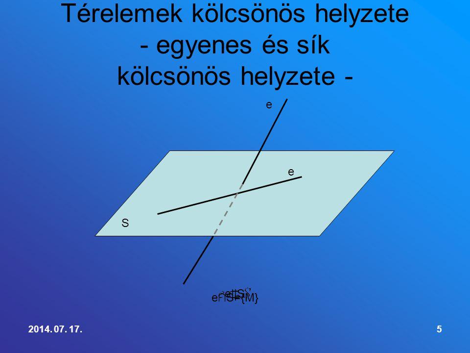 2014. 07. 17.5 Térelemek kölcsönös helyzete - egyenes és sík kölcsönös helyzete - S e e e∩S={M} e||S