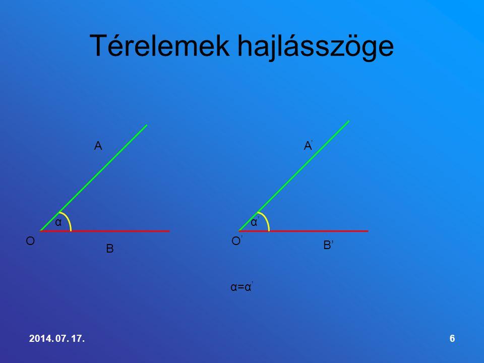 Definició: Két metsző sík esetében metszésvonaluk egy pontjában a két sík mindegyikében merőlegest állítunk a metszésvonalra, e két egyenes által alkotott szög a két sík hajlásszöge.