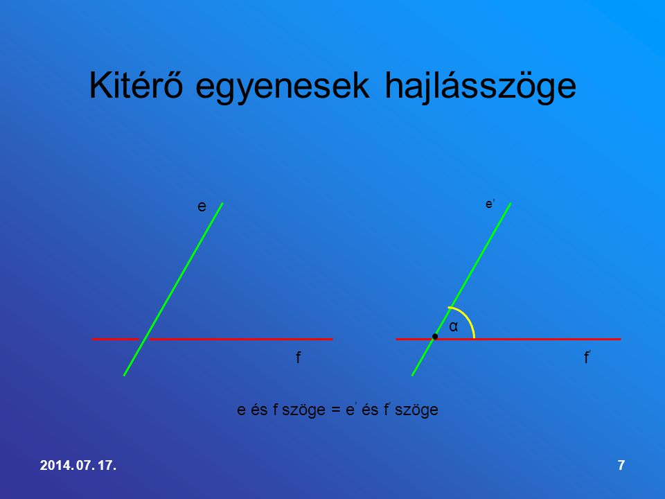 Definíció:Két kitérő egyenes hajlásszögén azt a szöget értjük, amelyet egy tetszőleges ponton átmenő, az adott egyenesekkel párhuzamos egyenesek alkotnak.